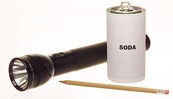 flashlight soda and pencil